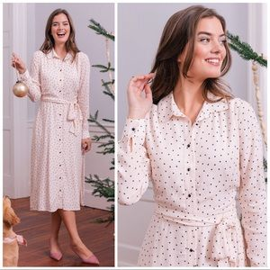 Gal Meets Glam Victoria Polka Dot Midi Shirt Dress